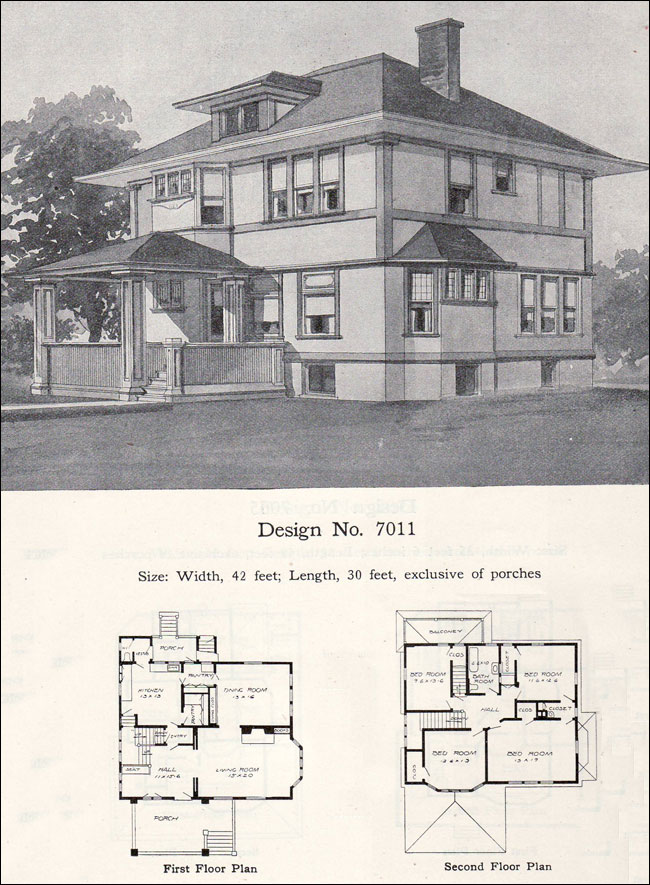 Early Prairie Style 1908 William A Radford Plan No 7011