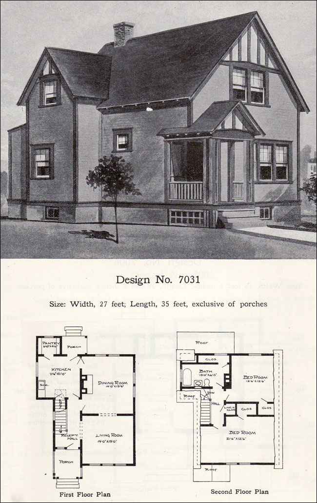 Craftsman And Tudor Revival Details Two Story 1908