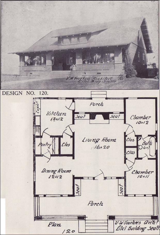 1908 Bungalow House Plan Side Gabled With A Centered