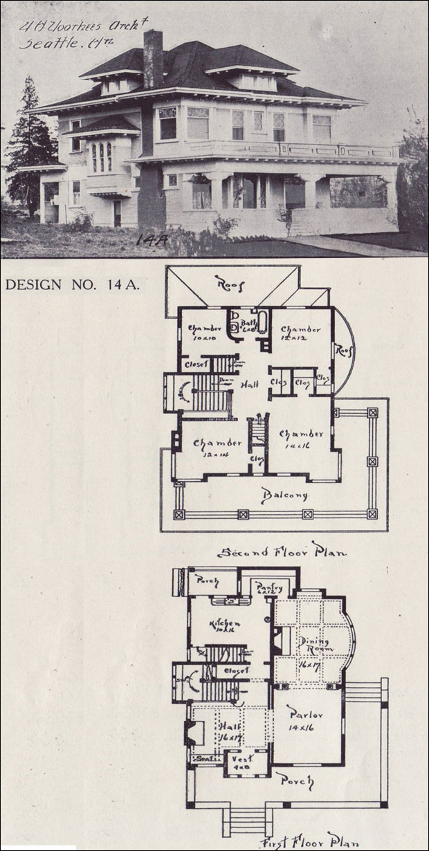 1908 House Plan Classical Revival Foursquare Western