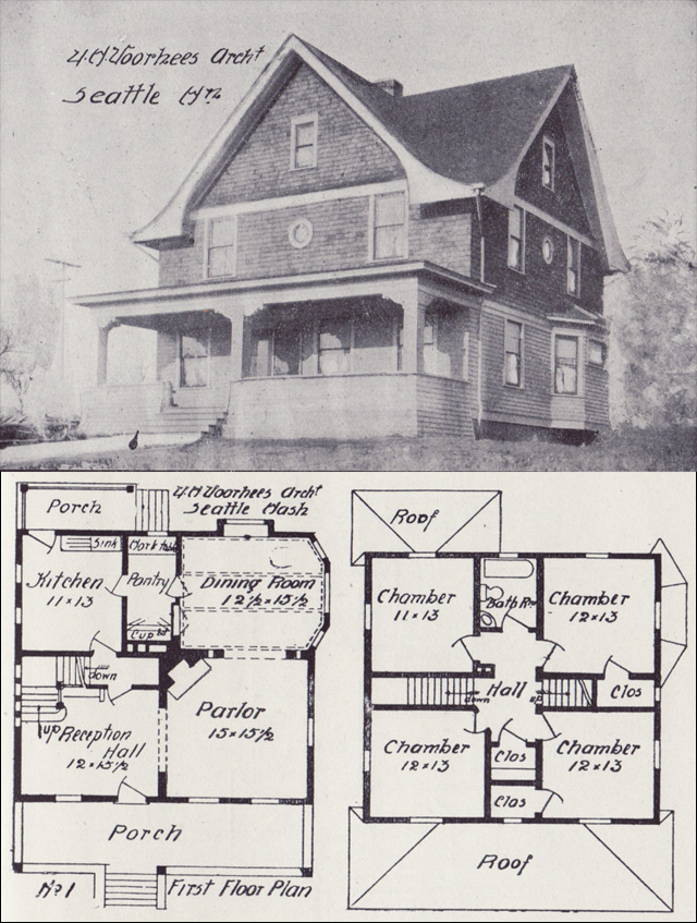 1908 Eclectic House Plan With Arts Crafts Detail