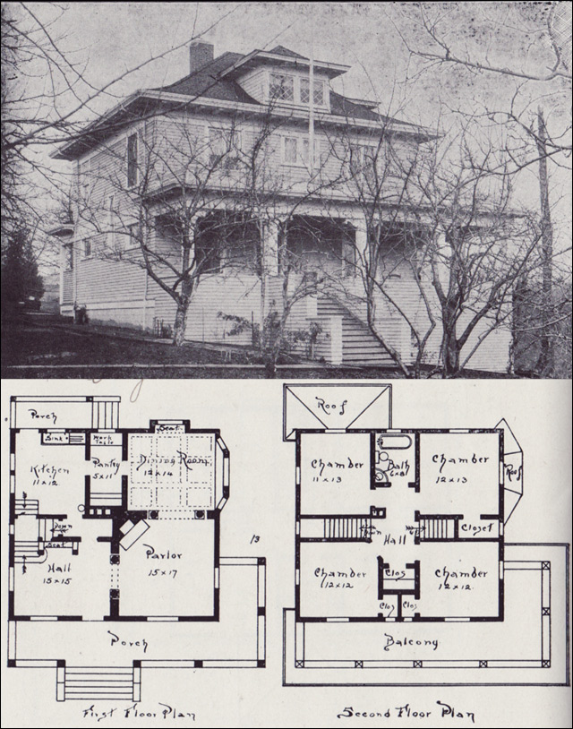 1908 western home builder design no 13 v w voorhees for Four square home designs