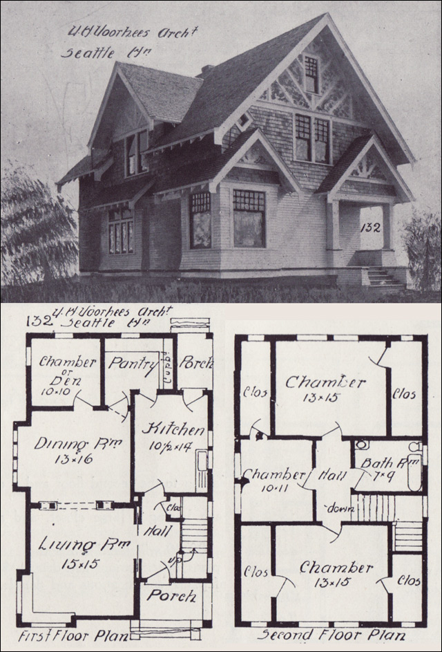 Seattle Homes-Tudor Style House Plan - Design No. 132 - 1908