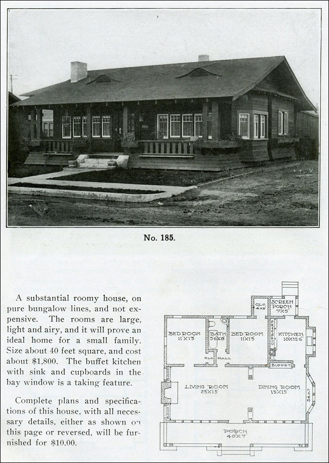 1910 Wilson The Bungalow Man Design No 185 Small