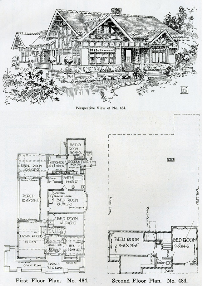 1910 - Two-story Tudor Revival House Plan - Henry Wilson - The ...