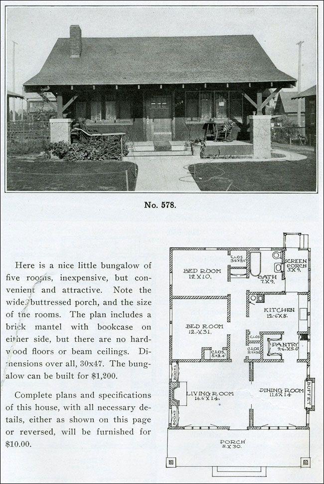 Henry l wilson the bungalow book bungalow homes side gable - House design book ...