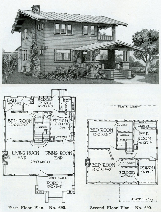 Two story 1910 simple swiss chalet henry wilson the bungalow book - Swiss style house plans ...
