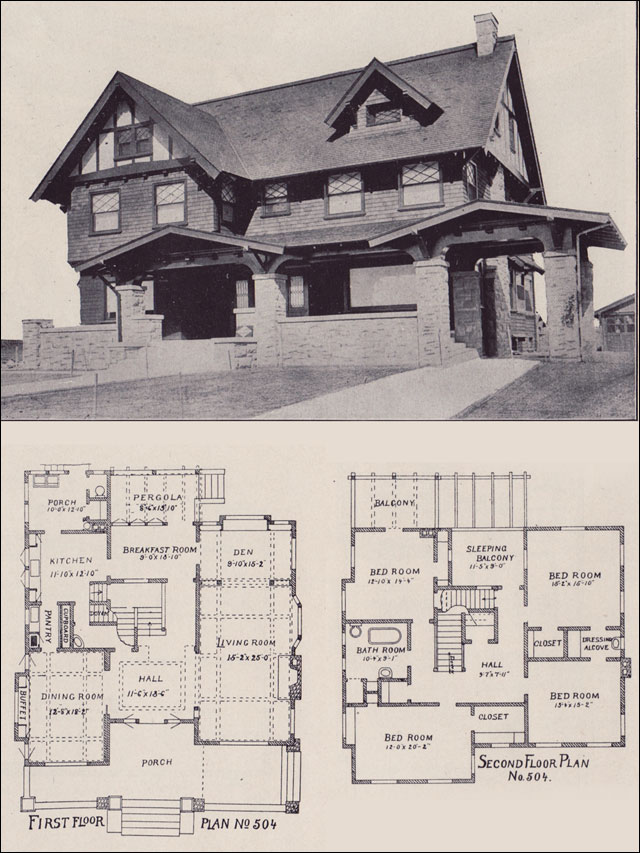 1912 california arts crafts style los angeles for Arts crafts house plans