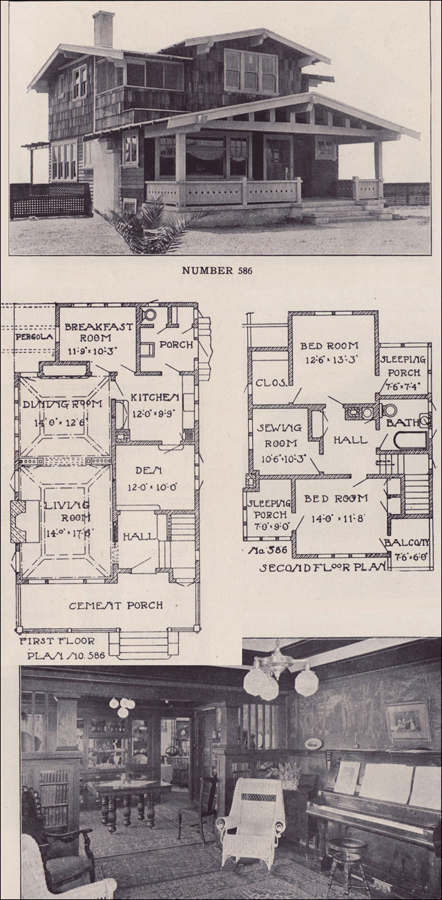 1912 california two story bungalow los angeles for California beach house plans