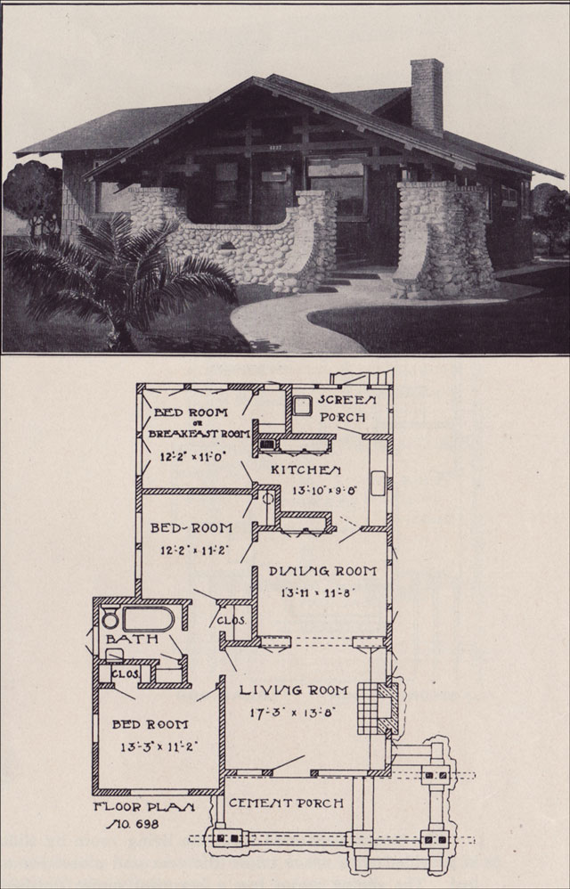 1912 small california bungalow plan los angeles for The classic home company