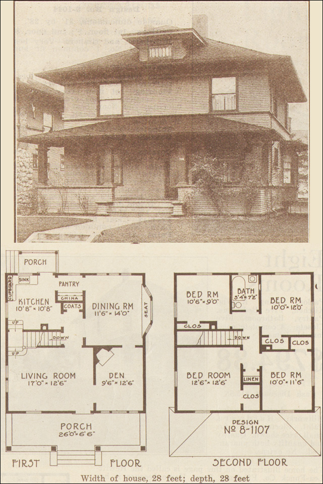 1915 foursquare classic hewitt lea funck co seattle for Seattle house plans