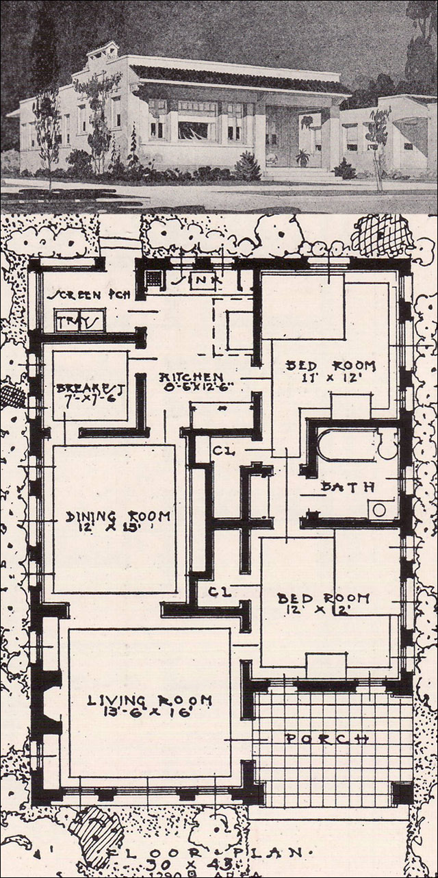Open plan spanish revival 2 bedroom cottage 1916 ideal for Ideal house plan