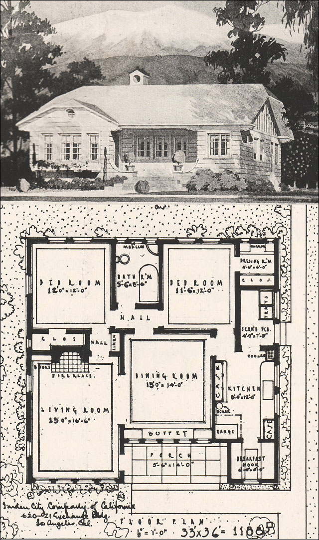 1916 clipped gable california bungalow 2 bedroom cottage for Home plans california