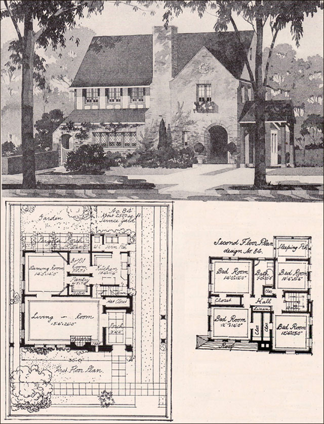 1916 English Style Two Story American Residential Architecture