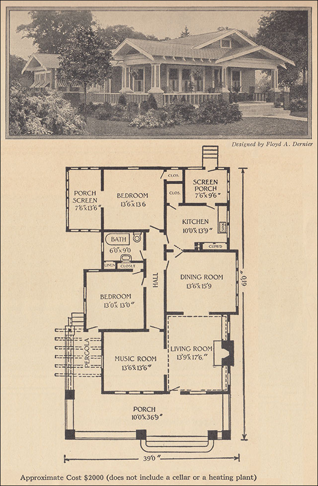 1916 one story bungalow ladies home journal floyd dernier for Airplane bungalow house plans