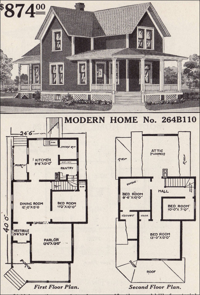 Modern home 264b110 farmhouse style 1916 sears house plans for Traditional farmhouse plans