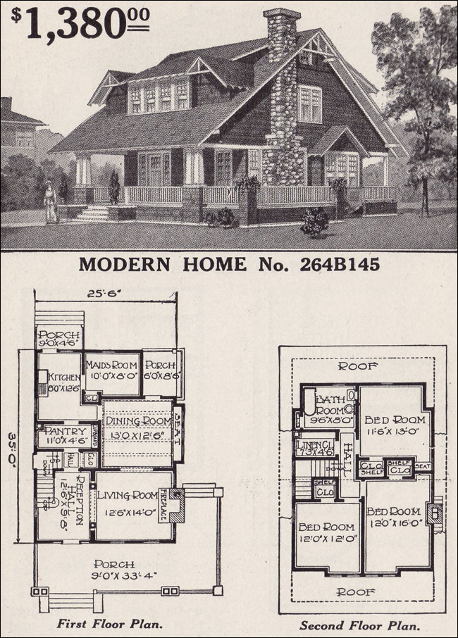 Sears modern home no 264b145 large 1 1 2 story for Vintage house plans craftsman