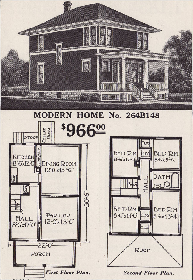Classic foursquare sears modern home no 264b148 for Styles of homes built in 1900