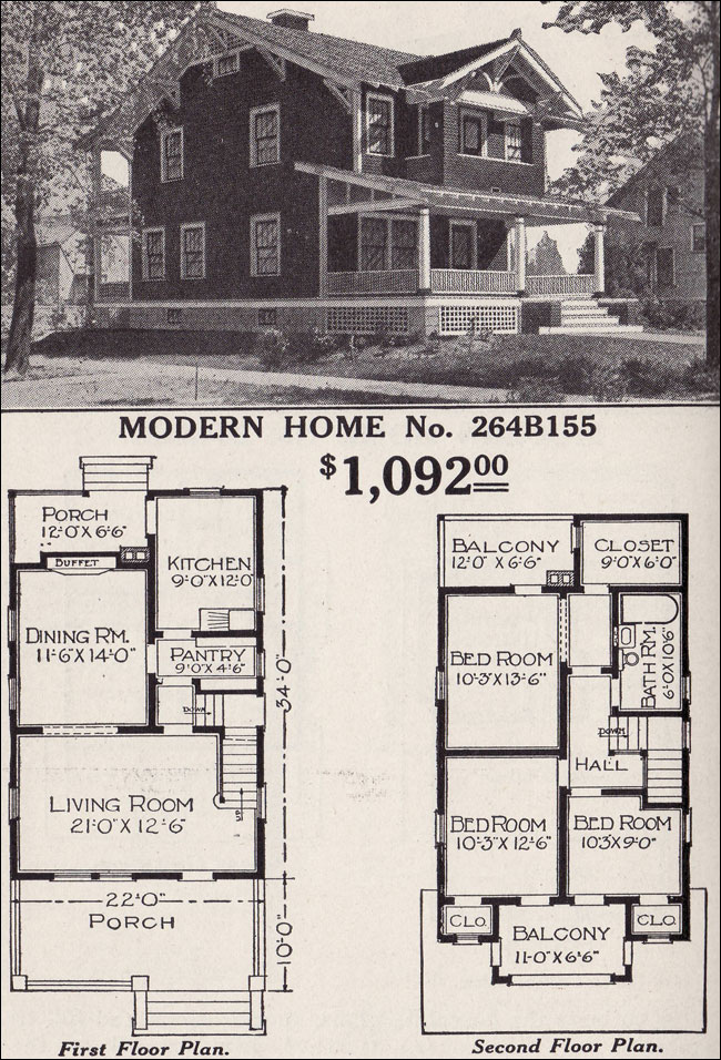 superb modern craftsman floor plans #3: Modern Home 264B155 Two story Craftsman style Bungalow 1916