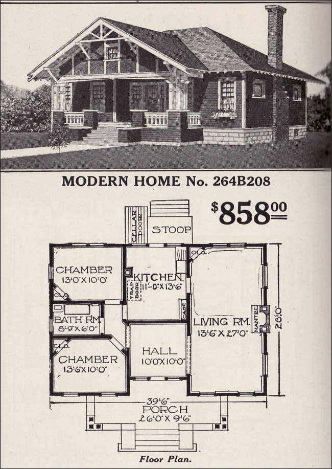 Bungalow House Plan Modern Home No 264B208 Hipped Roof Craftsman