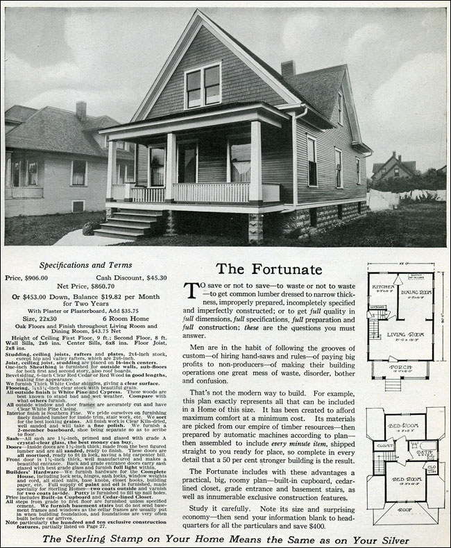 The Fortunate - Sterling House Plans - 1916 International Mill ...