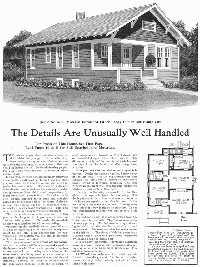 Small classic bungalow cottage 1918 gordon van tine for Classic bungalow house plans