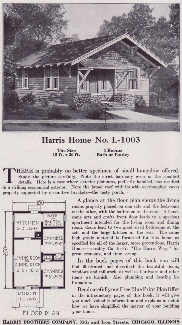 1918 Harris Bros. Co. - Plan No. L-1003