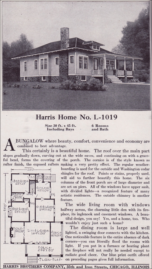 1918 Harris Bros. Co. - Plan No. L-1019