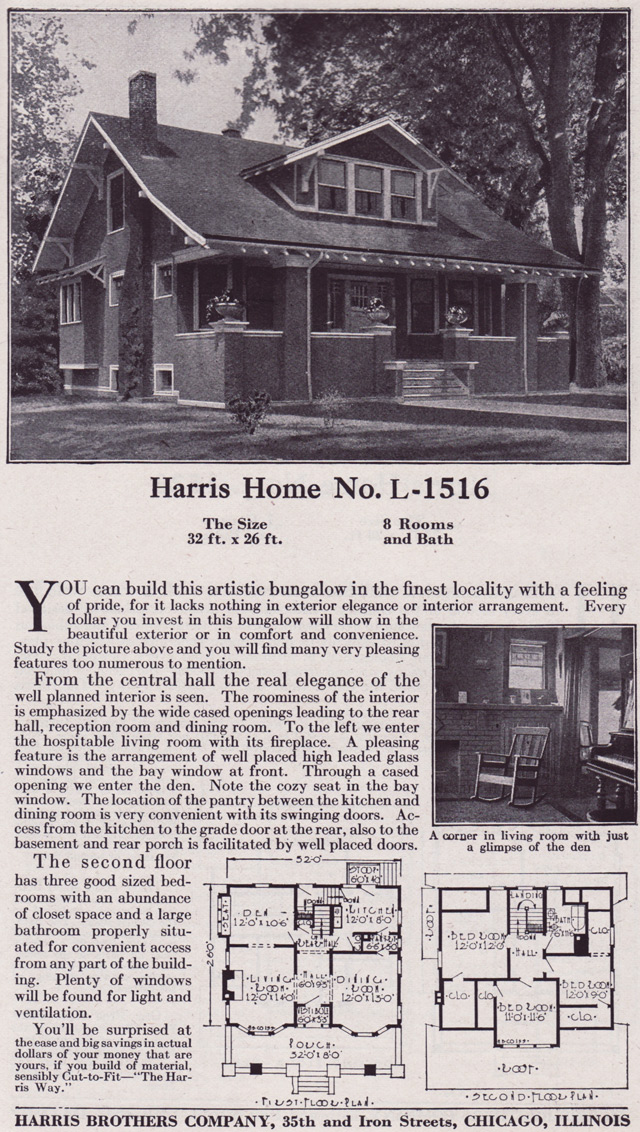 1918 craftsman style bungalow harris bros co kit homes for Chicago style bungalow floor plans