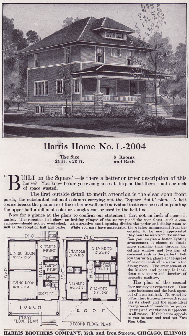 Plan l 2004 1918 harris bros co classic american for Classic house 2004