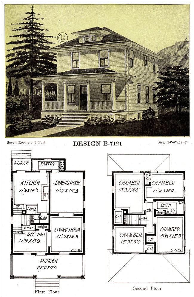 1918 free classic foursquare c l bowes chicago for Modern foursquare house plans