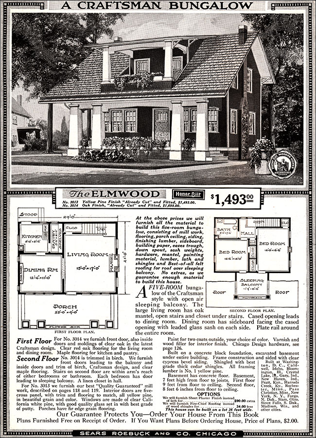 elmwood 1918 sears kit homes honor bilt craftsman bungalow. Black Bedroom Furniture Sets. Home Design Ideas
