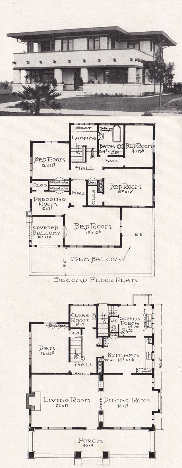 California prairie school 1918 house plan by e w stillwell for Prairie floor plans