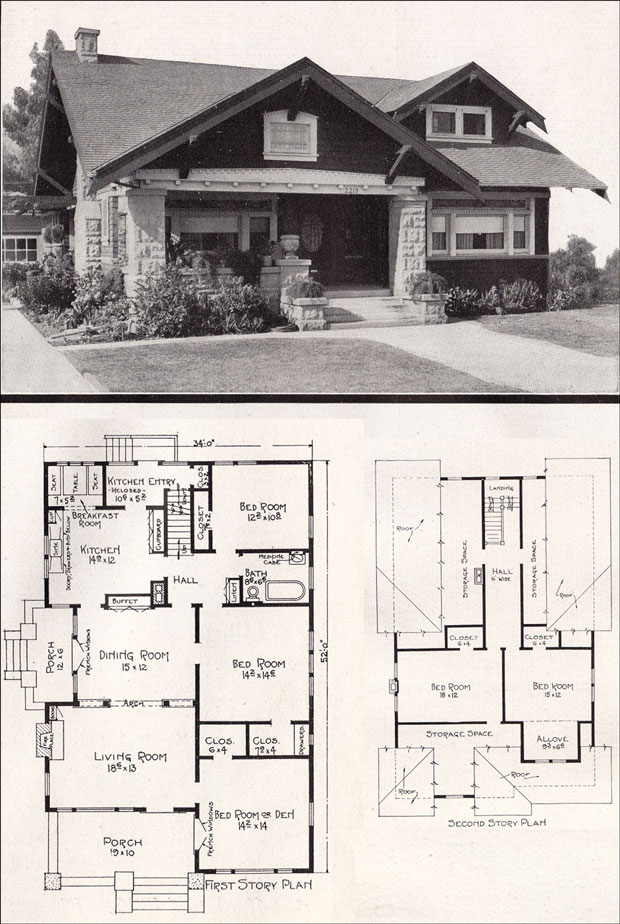 California bungalow by e w stillwell c 1918 California bungalow floor plans