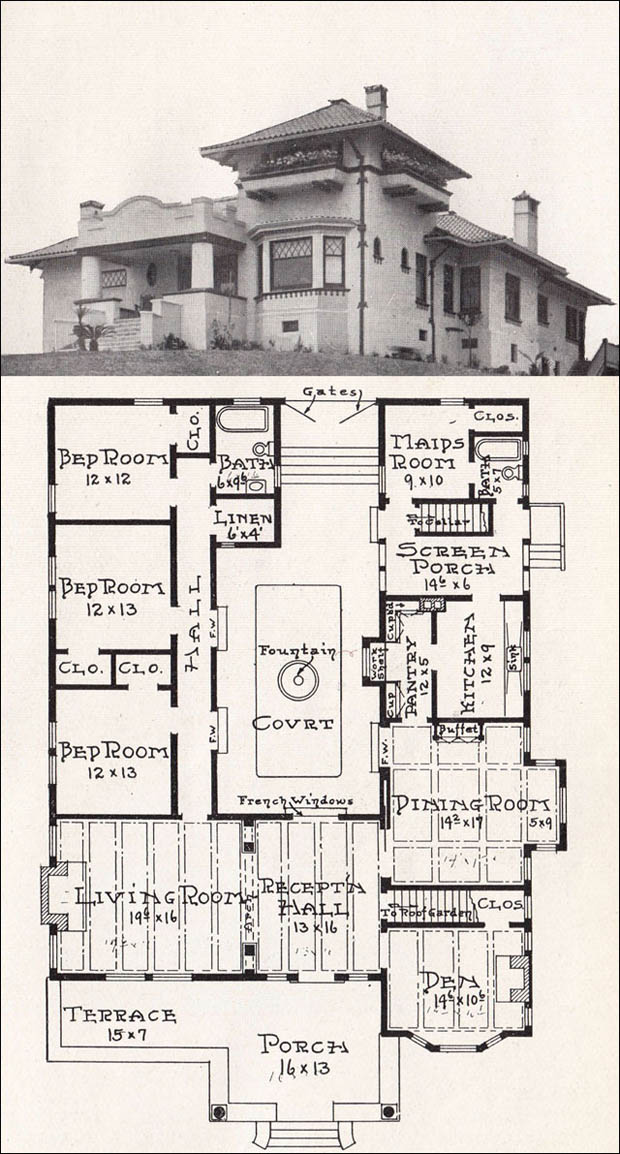 California mission style house 1918 house plan by e w for California style house plans