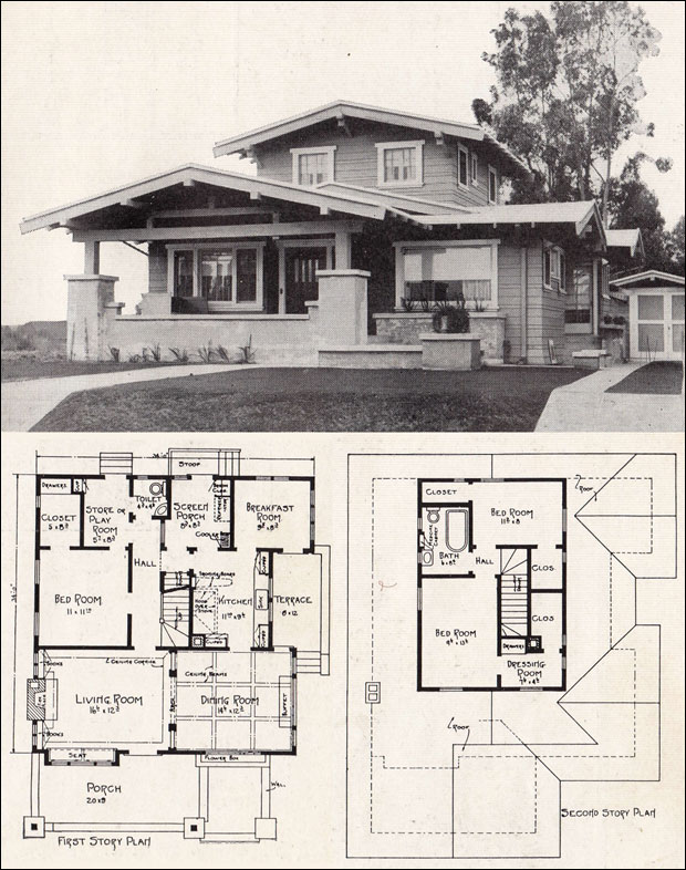 E w stillwell airplane bungalow c 1918 California bungalow floor plans