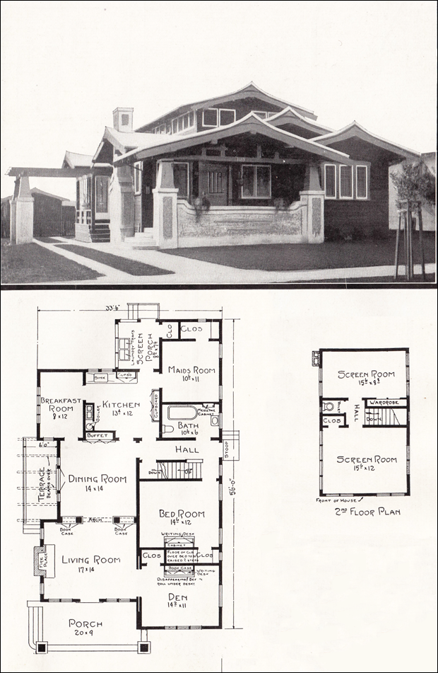 Asian style airplane bungalow 1918 house plans by e w California bungalow floor plans