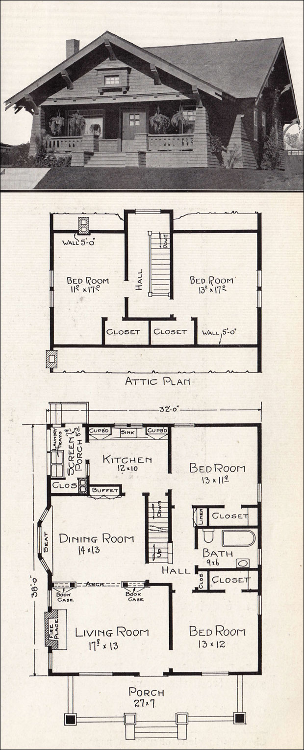 Classic 1918 craftsman bungalow representative for Classic cottage house plans
