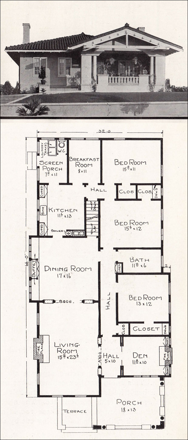 Mediterranean style bungalow c 1918 home plans by e w California bungalow floor plans