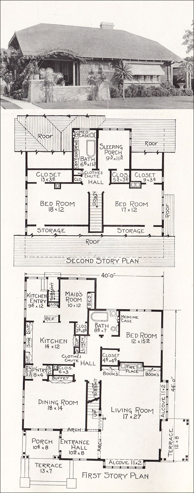 California modern cottage bungalow 1918 home plan by e House plans ca