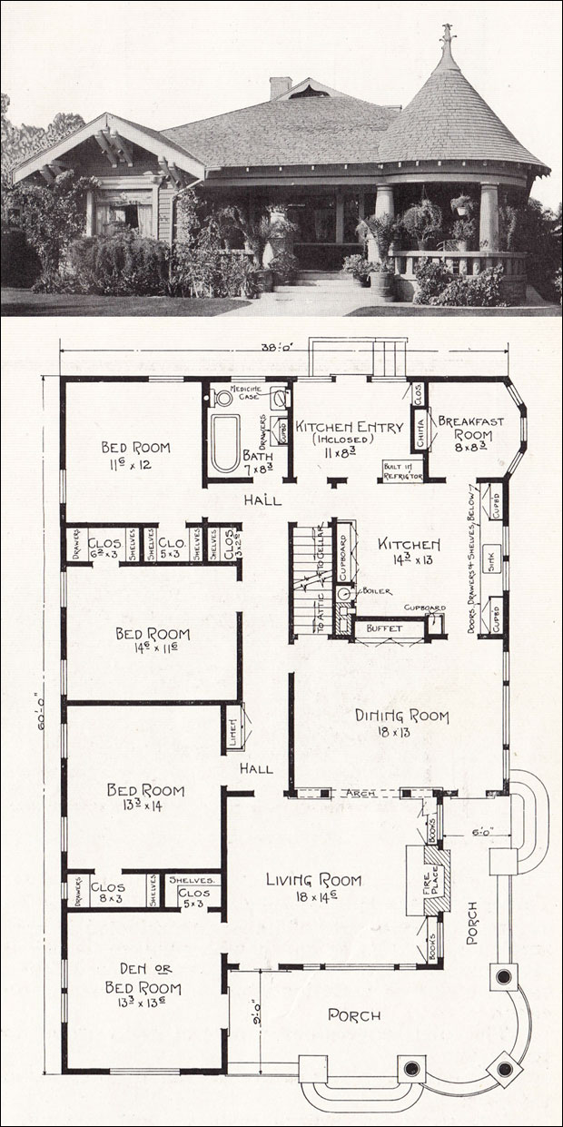 Bungalow queen anne hybrid 1918 house plan by e w for Vintage bungalow house plans