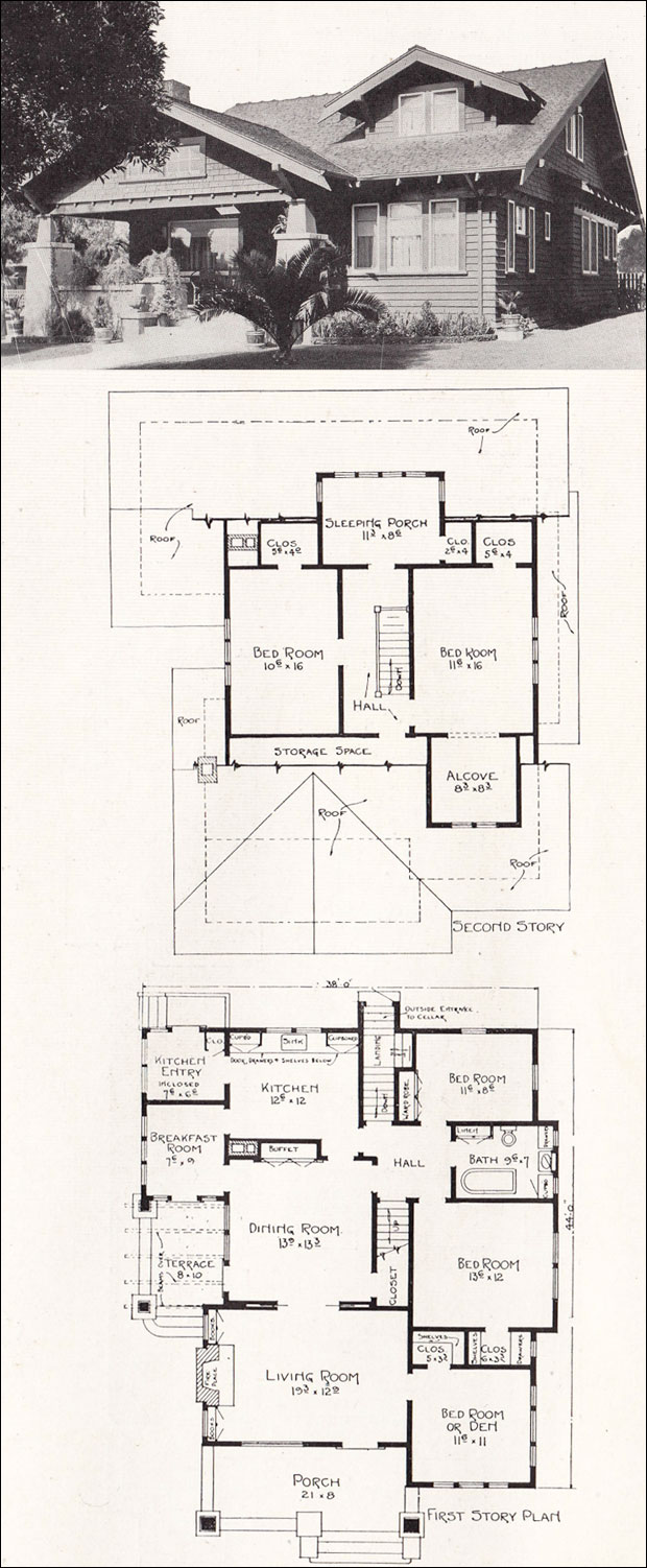 1918 bungalow home plans craftsman houses of los angeles for California craftsman house plans