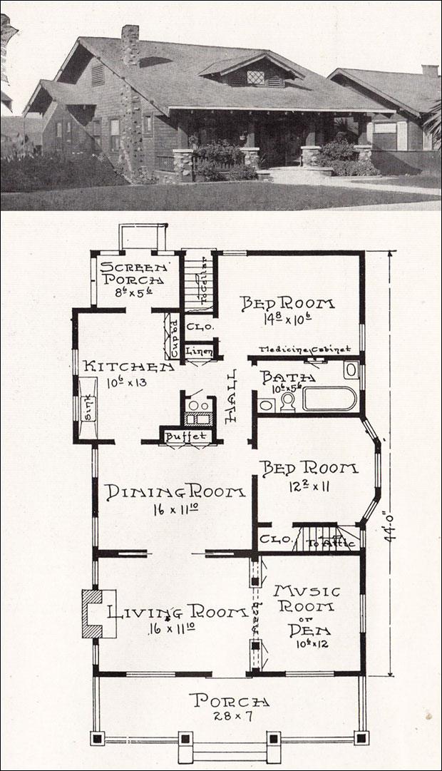 california craftsman bungalow house plan - 1918 representative