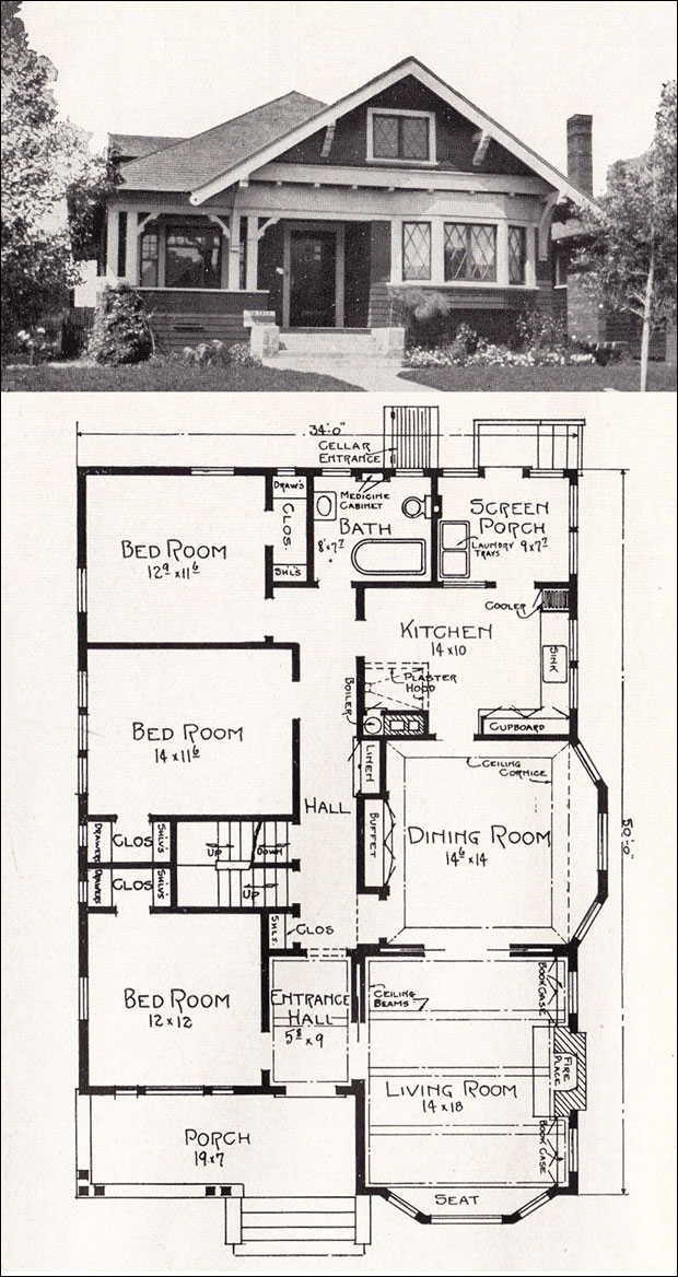 Transitional Bungalow Floor Plan - c 1918 Cottage House Plan by ...