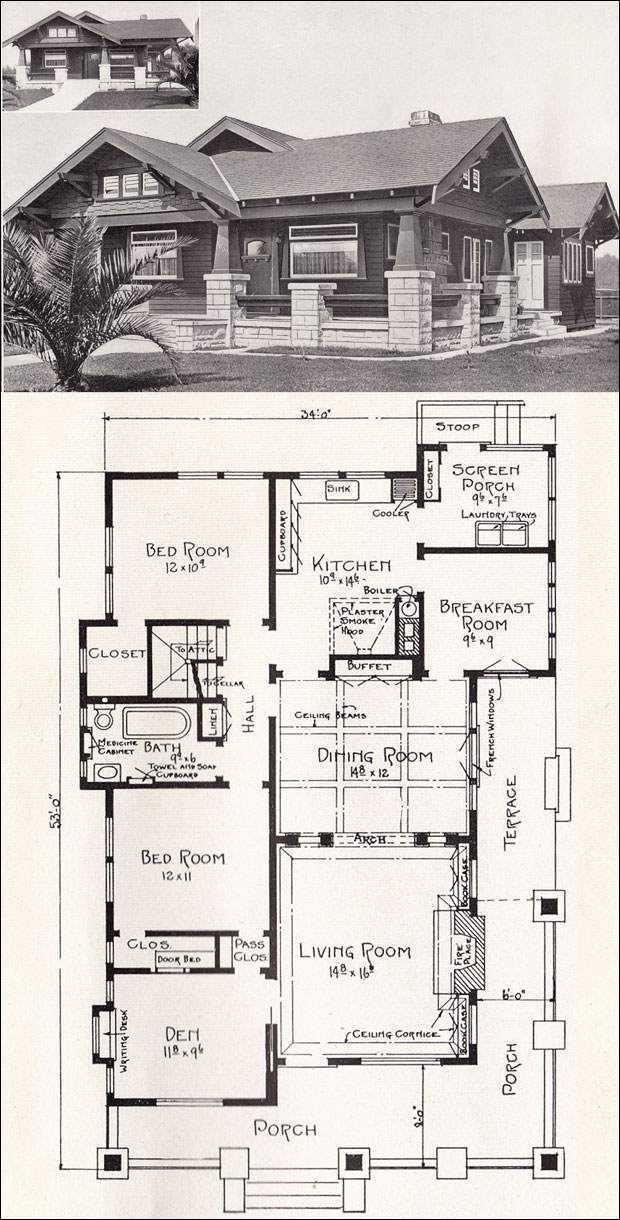 bungalow house plan - california craftsman - 1918 home plane. w.