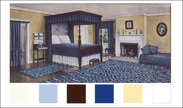 Colonial Style Decorating - Bedroom - 1910 - Blue & Yellow Scheme on colonial bedroom art, colonial rugs, colonial architecture, colonial bedroom furnishings, colonial bedroom style, colonial bathroom, colonial bedroom sets, colonial general, colonial beds, colonial mirrors, colonial master bedroom, colonial bedroom colors, colonial kitchen, colonial interior,