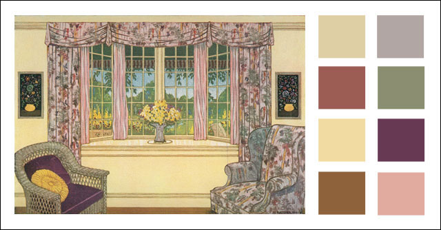 1928 Color Scheme   Living Room With Bay Window