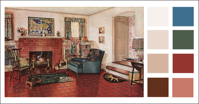 Traditional Living Room Color Schemes traditional living room - 1920s earth tone color scheme - 1928