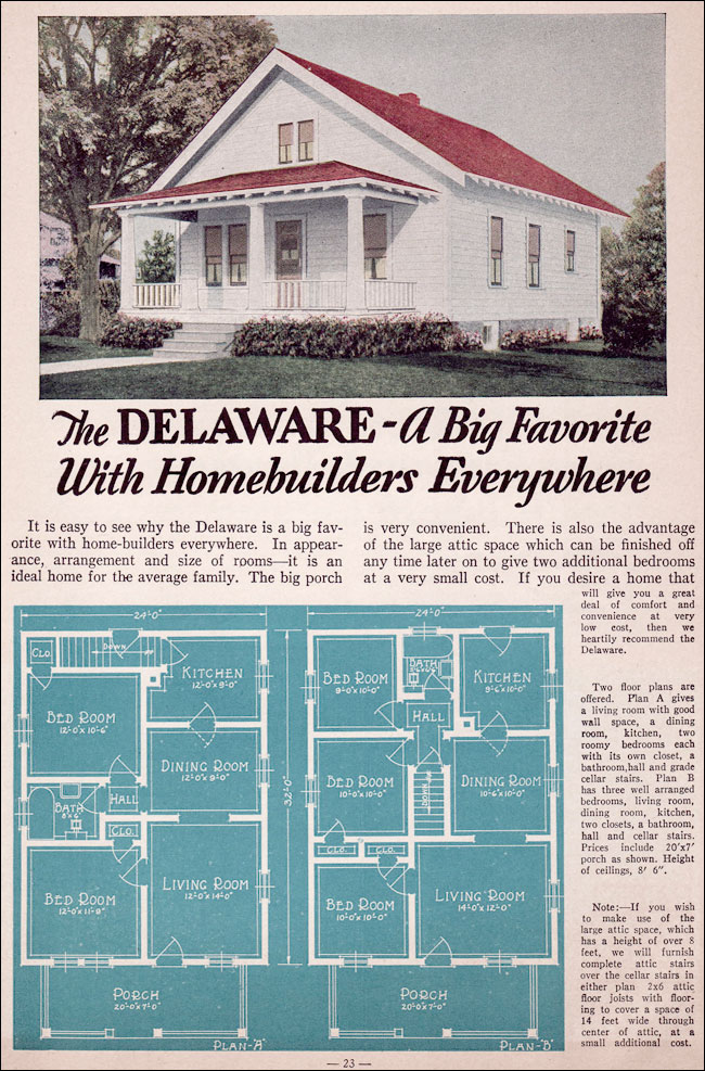 1935 Bungalow Style - Liberty Homes by Lewis Mfg. The Delaware