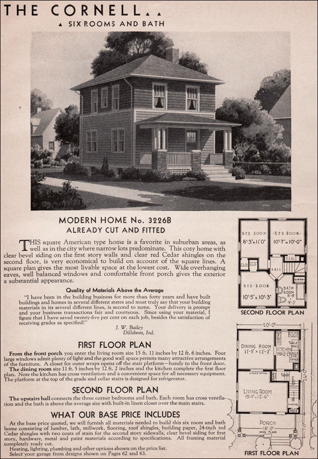 Sears Kit Homes 1936 Cornell American Foursquare House Plan – Craftsman Bungalow House Plans 1930S